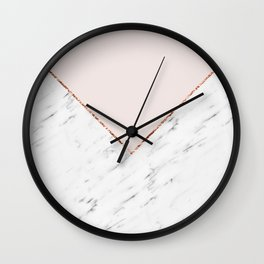 Peony blush geometric marble Wall Clock