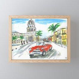 Cuba Havana Capitol sketch Framed Mini Art Print