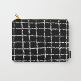 Black and white grid abstract minimal gridded pattern gifts basic nursery home decor Carry-All Pouch