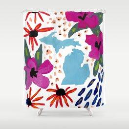 Michigan + florals Shower Curtain