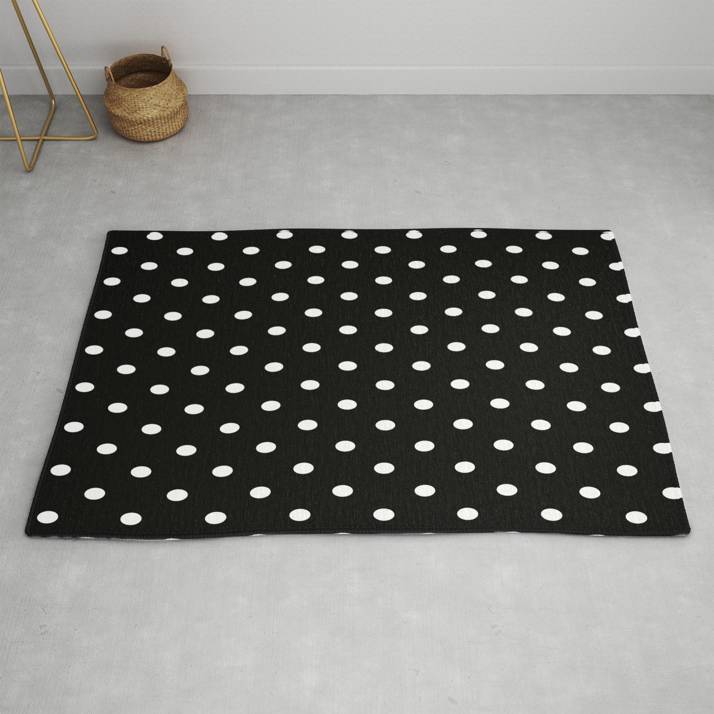 Black White Polka Dots Rug By