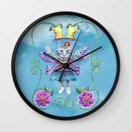 Angel Kitty (Turquoise) Wall Clock