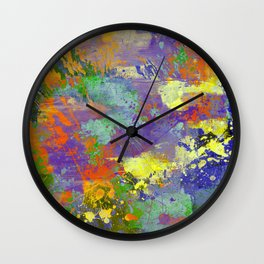 Signs Of Life - Vibrant, random paint splatter multi coloured abstract Wall Clock