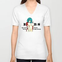 hentai V-neck T-shirts featuring Hentai girl boobs funny quote by Peter Reiss