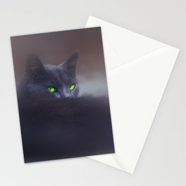 Black Cat with Green Eyes Stationery Cards