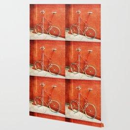 Red Tall Bike Against Brick Wall Wallpaper