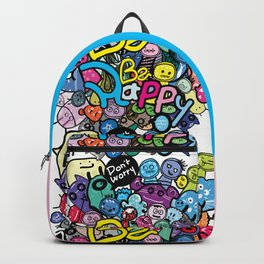 Be Happy doodle monster Backpack