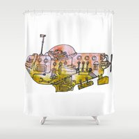 yellow submarine Shower Curtains featuring Submarine  by Joseph Kennelty