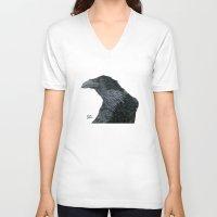 lara croft V-neck T-shirts featuring Raven Croft 2 by Jennifer Lambein