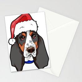Basset Hound Dog Christmas Hat Stationery Cards