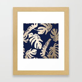 Simply Palm Leaves in White Gold Sands on Nautical Navy Framed Art Print