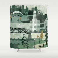 travel poster Shower Curtains featuring Chicago Travel Poster Illustration by ClaireIllustrations