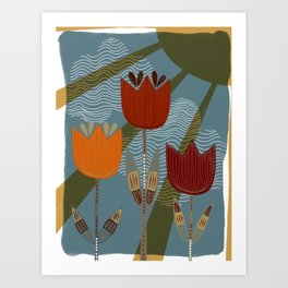 Woodsy Folk Art Flower Art Print