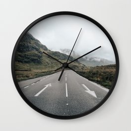 Middle of scottish road Wall Clock