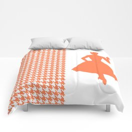 Coral Modern Houndstooth w/ Fashion Silhouette Comforters