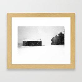 Snow Storm - Barn on the Hill Framed Art Print