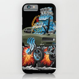 Classic American Muscle Car Hot Rod Cartoon Vector Illustration iPhone Case