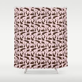 Rabbit Pattern | Rabbit Silhouettes | Bunny Rabbits | Bunnies | Hares | Pink and Brown | Shower Curtain