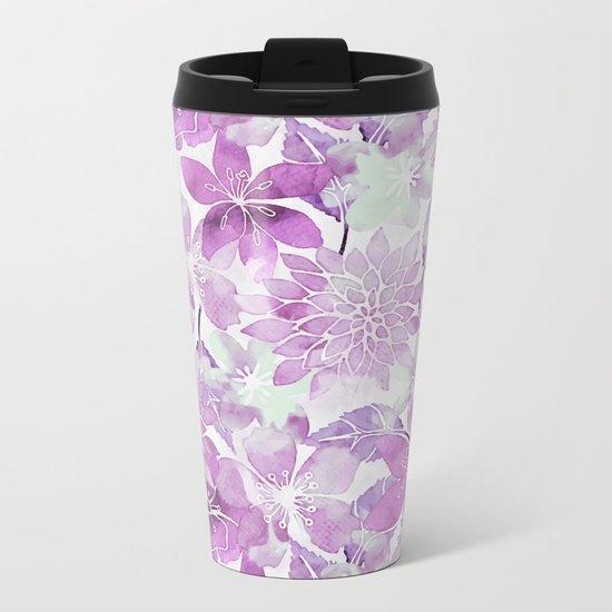 Soft Pink Pastel Watercolor Flower Pattern Metal Travel Mug