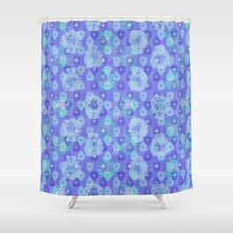 Lotus flower - pool blue woodblock print style pattern Shower Curtain