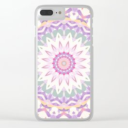 Calypso Mandala in Pastel Pink, Purple, Green, and White Clear iPhone Case