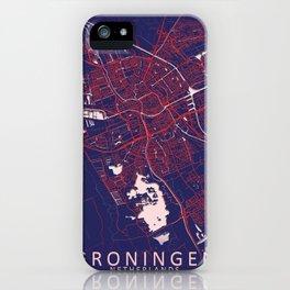 Groningen, Netherlands, Blue, White, City, Map iPhone Case