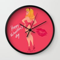 valentines Wall Clocks featuring valentines day  by Melissa Ballesteros Parada