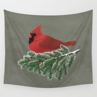 cardinal Wall Tapestries featuring Cardinal by Sam Magee