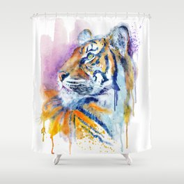 Young Tiger Watercolor Portrait Shower Curtain
