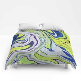 Smooth Lime Blue Abstract Vibrant Vivid Comforters
