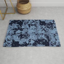 Silver Frost, Azure-Blue and Black Ice Abstract Pattern Rug