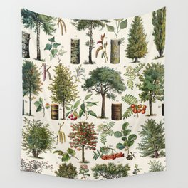 Adolphe Millot - Arbres B - French vintage botanical poster Wall Tapestry