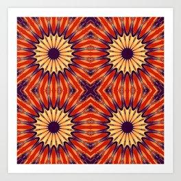 Coral Indigo Pinwheel Flowers Art Print