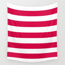 Rich carmine - solid color - white stripes pattern Wall Tapestry