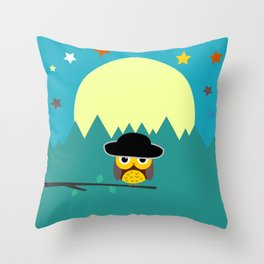 Clear night with a cute owl on a tree branch Throw Pillow