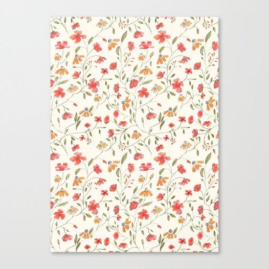 Red and Orange Vintage Floral Pattern Canvas Print