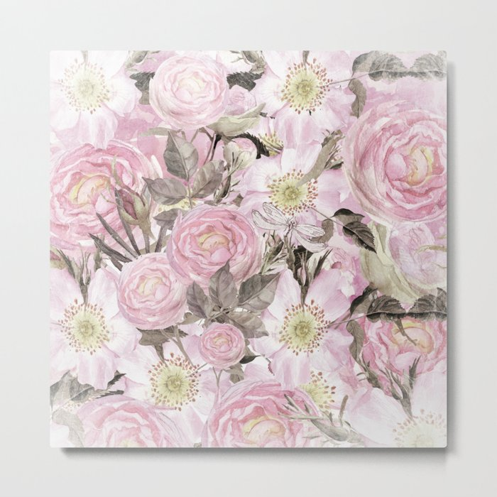 Floral Vintage painterly background in pink with Roses Flowers and insect Metal Print