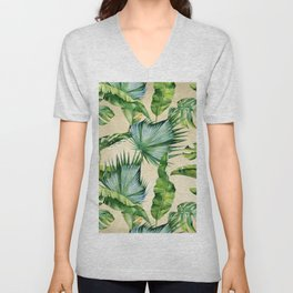 Green Tropics Leaves on Linen Unisex V-Neck