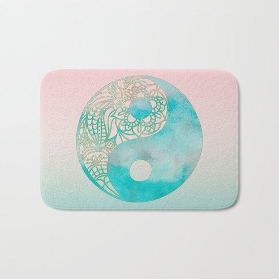 Yin Yang Watercolor Esoteric Symbol in teal and soft pink Bath Mat