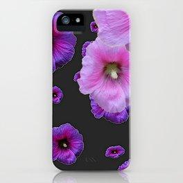 ASYMMETRICAL  PINK-PURPLE  HOLLYHOCKS ON DARK CHARCOAL GREY ART iPhone Case