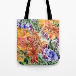 Alstroemeria & Lathyrus Tote Bag