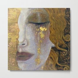Freya's Tears - Starry Night (Golden Tears) portrait painting by Gustav Klimt Metal Print