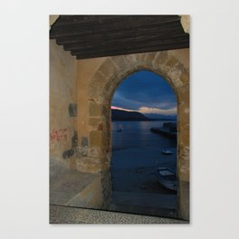 Door Framed Sunset View in Cefalu Italy Canvas Print