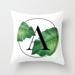Monogram Leafs - Letter A Throw Pillow