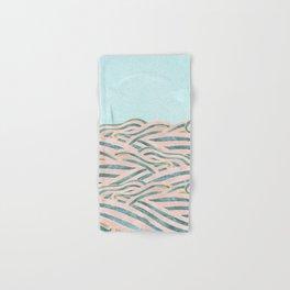 Venetian Waves // Vintage Abstract Pink Blue and Gold Summer Illustration Digital Beach Wall Decor Hand & Bath Towel