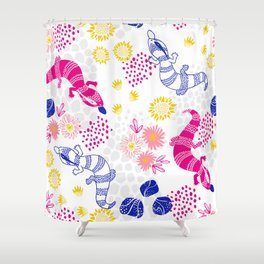 Paint me Pink - Blue Tounge Lizards Shower Curtain