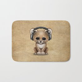 Cute Lion Cub Dj Wearing Headphones Bath Mat