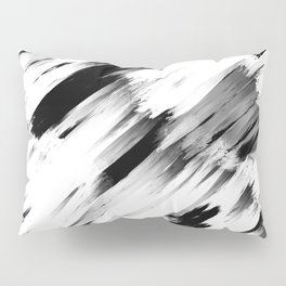 Modern Abstract Black White Brushstroke Art Pillow Sham