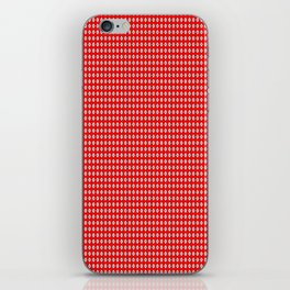 Red Background, White Diamond and Black Spots iPhone Skin