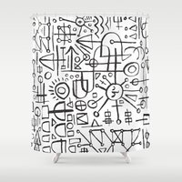 writing Shower Curtains featuring ALIEN WRITING by Matthew Taylor Wilson